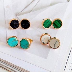 Jewelry - NEW Gold Round Black Marble Stud Earrings